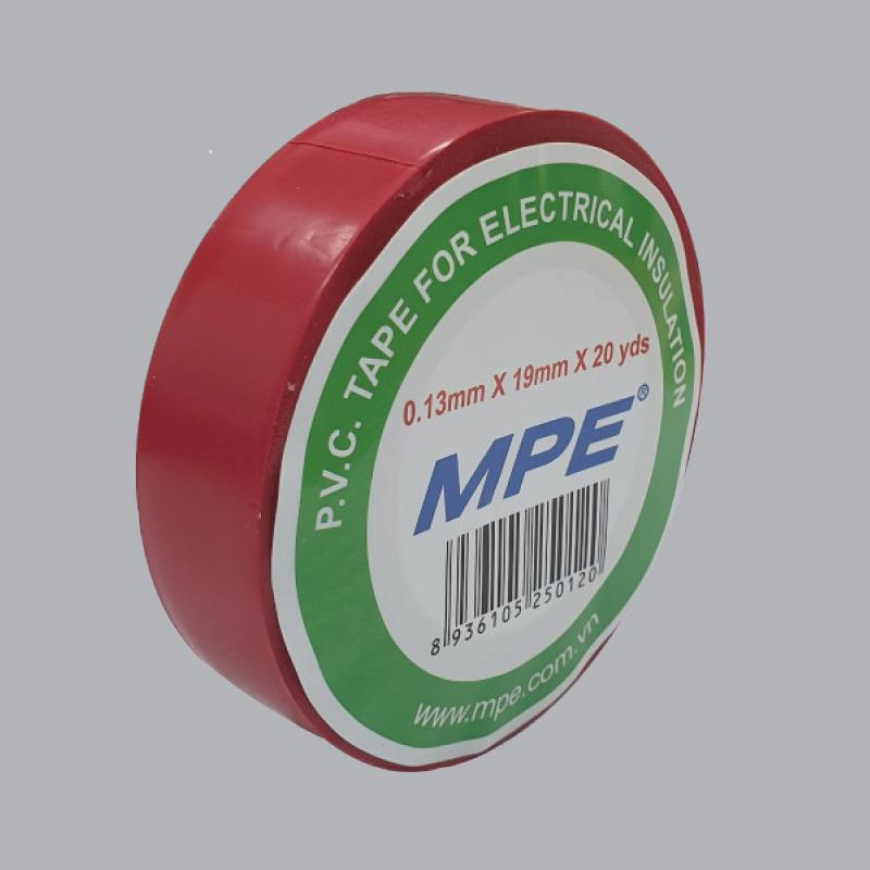 Băng keo điện pvc 20 yard mpe màu đỏ, bản rộng 19mm, độ dày 0.13mm