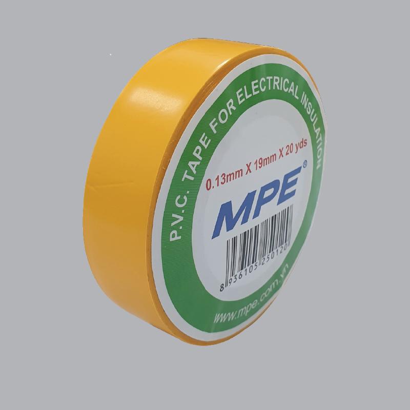 Băng keo điện pvc 20 yard mpe màu vàng, bản rộng 19mm, độ dày 0.13mm