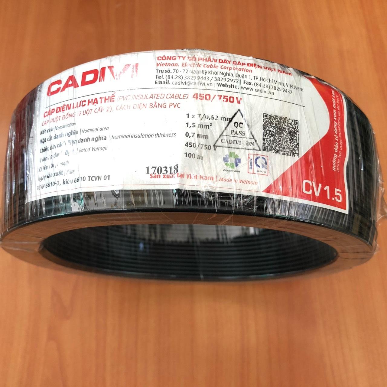Cuộn 100m cáp điện lực hạ thế 0,6/1kv màu đen cv 1.5 cadivi ( ruột đồng, cách điện bằng pvc)