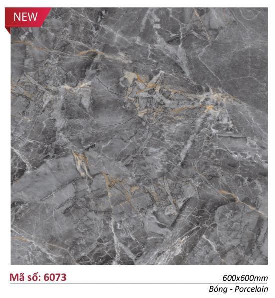 Gạch lát nền 6073 Catalan, kích thước 60 x 60 cm, chất liệu đá Granite mài cạnh, bề mặt bóng kính, màu xám đậm vân đá