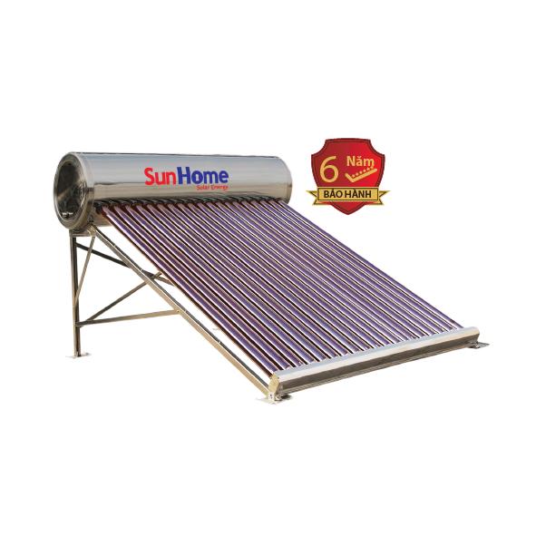 Máy năng lượng mặt trời Sunhome 175 lít có vỏ bồn và ruột bồn bằng Inox 304, ống thu nhiệt lõi đỏ mạ Titan kích thước Ø58x1800mm