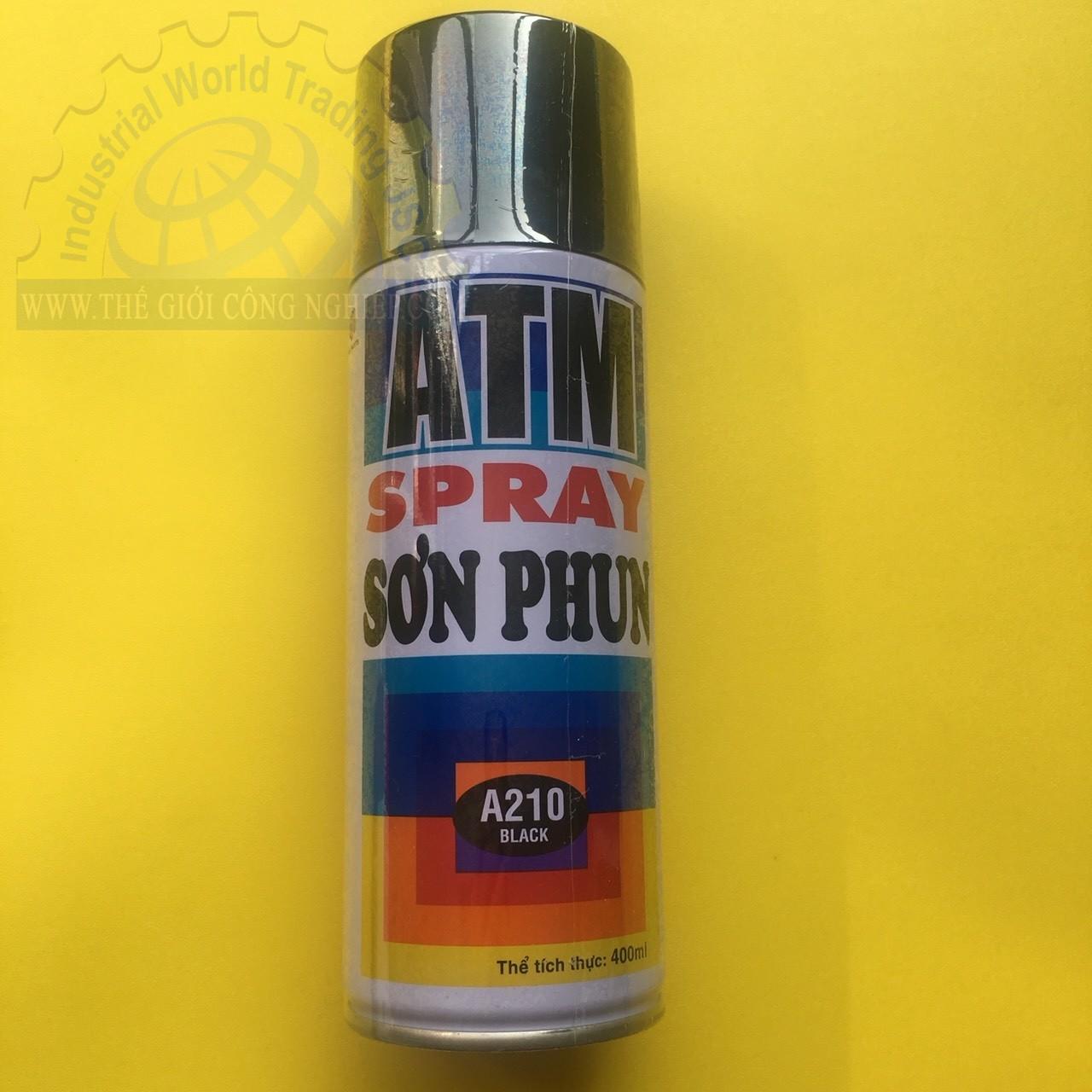 Sơn phun ATM A210 Black, màu đen, chai 400ml (270g) ATMSPRAY