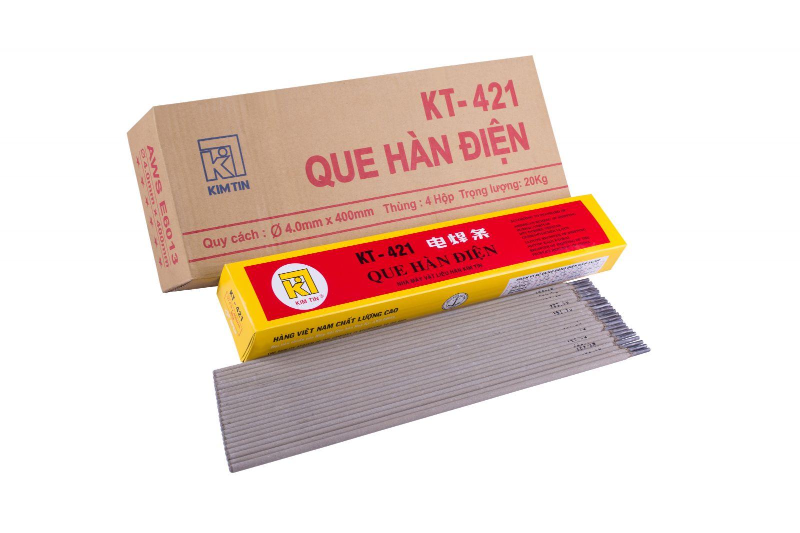 Thùng que hàn điện 2.5x300mm KT-421 Kim Tín(thùng 8 hộp/hộp 2.5Kg)