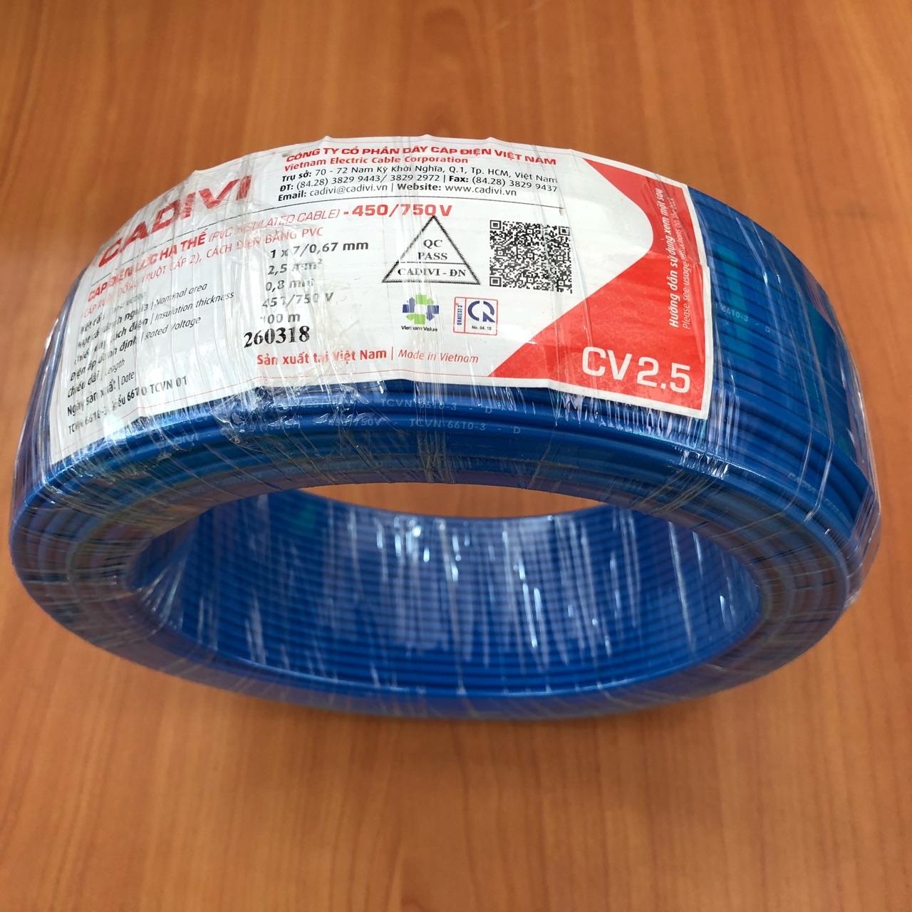 Cuộn 100m dây điện đơn CV 2.5 - 0,6/1kV màu xanh dương Cadivi, ruột đồng vỏ bọc nhựa pvc Cadivi