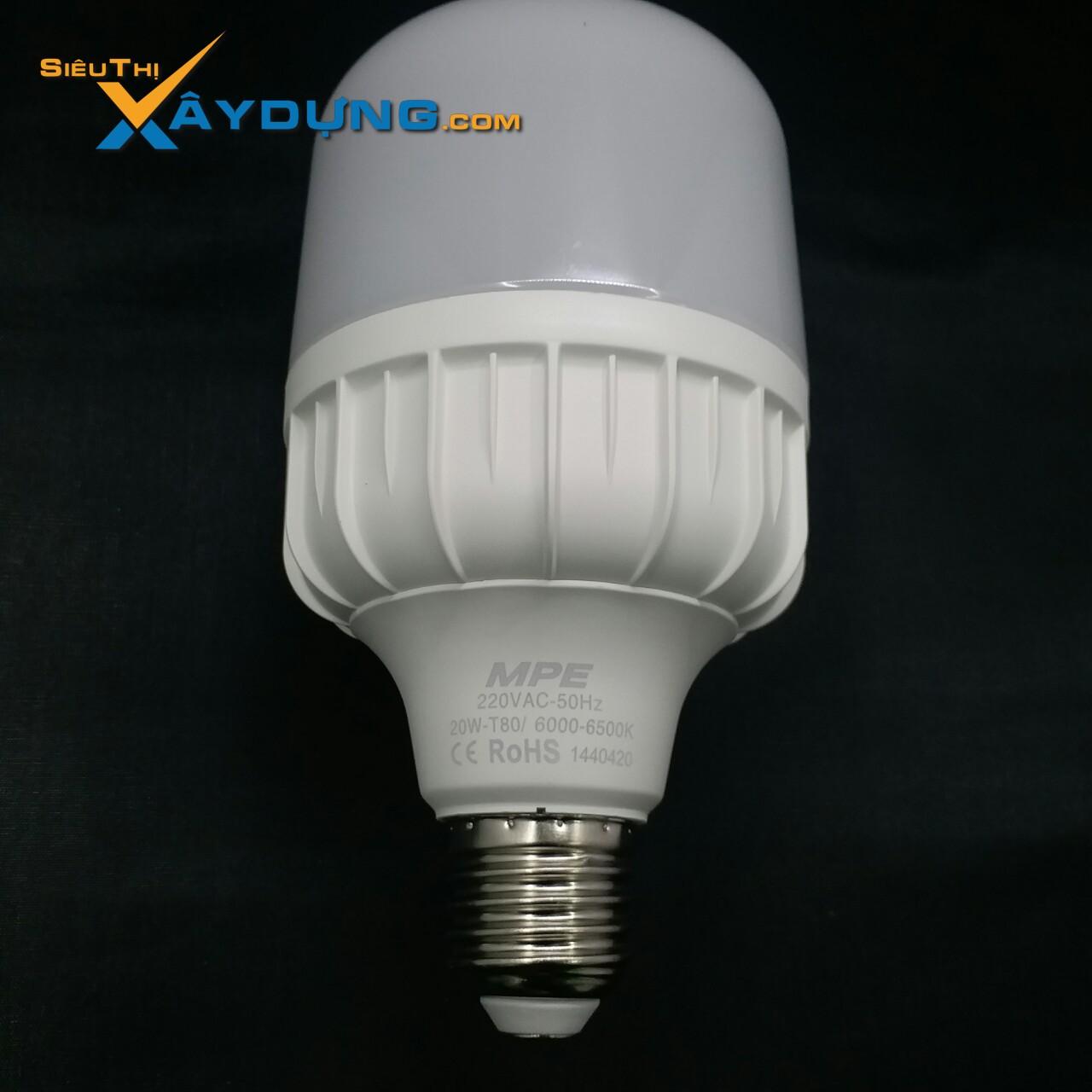 Đèn led bulb 20w ánh sáng trắng LBD-20T Mpe, đường kính bóng đèn 152mm, đường kính đui đèn 80mm, thân nhựa MPE