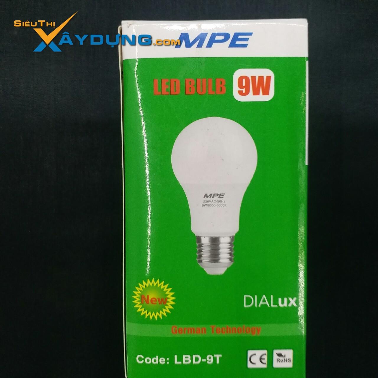 Đèn led bulb 9w ánh sáng trắng LBD-9T Mpe, đui đèn E27, điện áp 100-240VAC, thân nhựa MPE